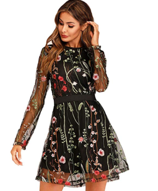 Screenshot_2020-01-22 Milumia Women's Round Neck Floral Embroidered Mesh Long Sleeve Dress at Amazon Women's Clothing store(1)